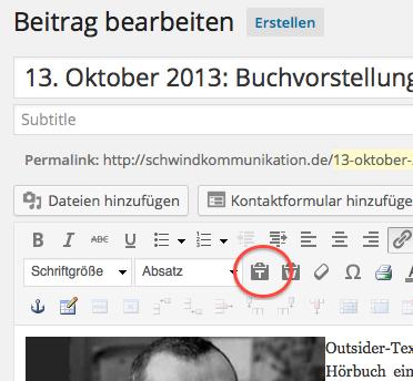 Screenshot aus WordPress